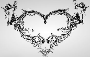Ornate Vintage Heart with Angel - Free vector #172129