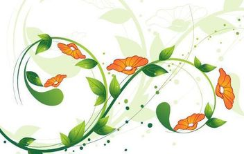 Green and red Floral Vector illustration - Free vector #172349