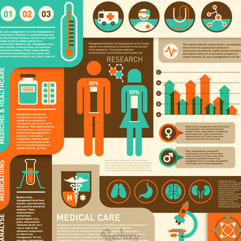 Retro Flat Healthcare Infographic - vector gratuit #172899