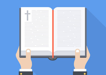 Minimal Open Bible on Hands - vector gratuit #172929