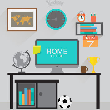 Work Desk Home Cartoon with PC - Kostenloses vector #172979