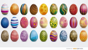 27 painted Easter eggs set - vector #173009 gratis