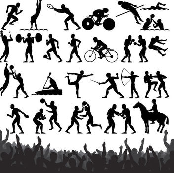 Sportsmen Pack Silhouettes - Free vector #173019