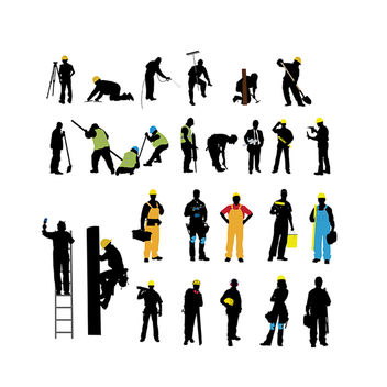 Silhouette Various Labor Profession Pack - vector #173039 gratis