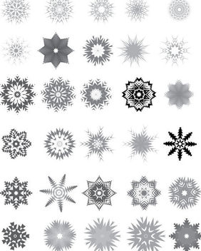 Huge Pack of Decorative Black & White Snowflake - Kostenloses vector #173049