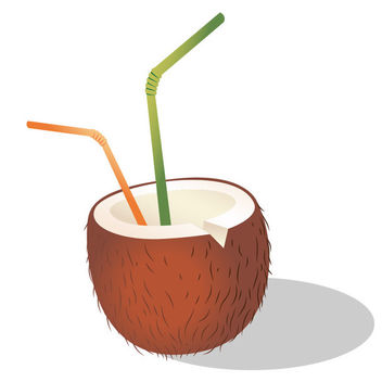 Coconut Cocktail with Straw - Kostenloses vector #173079