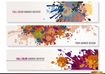Colorful paint drops headers - vector gratuit #173089