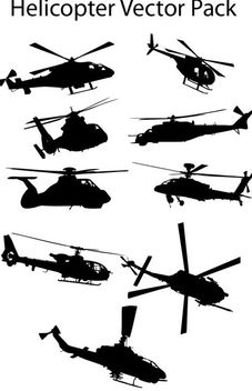 Various Silhouette Helicopter Pack - vector #173109 gratis