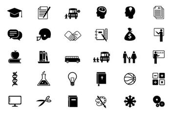 Black & White Educational Flat Icon Set - бесплатный vector #173119