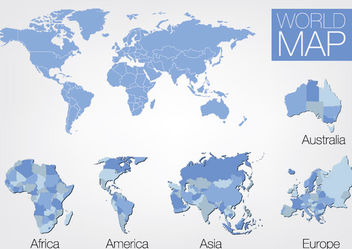 5 Continent World Map Set - Free vector #173129