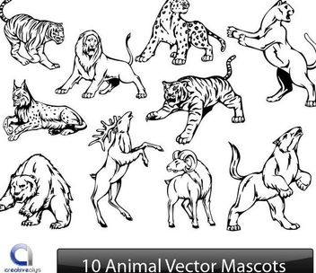 Black & White Animal Sketch Pack - Free vector #173139