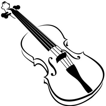 Line Art Blak and White Violin - Free vector #173169