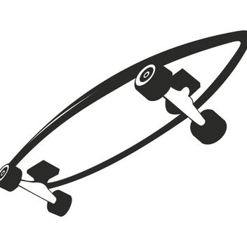 Black & White Roller Skateboard Sketch - Free vector #173209
