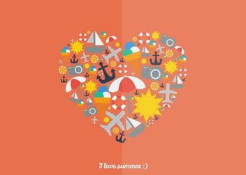 Heart Formed with Summer Icons - Kostenloses vector #173219