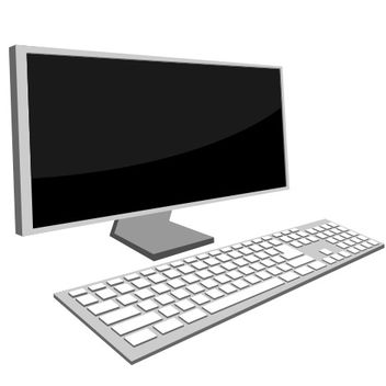 Desktop Monitor and Keyboard - vector gratuit #173249