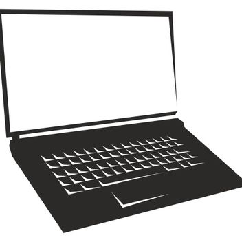 Blank Screen Notebook Laptop Silhouette - vector gratuit #173259