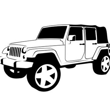 Black & White Hand Traced Jeep Wrangler - Free vector #173289