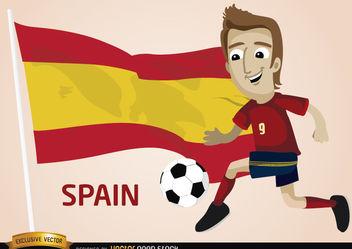 Spain football player with flag - vector gratuit #173389