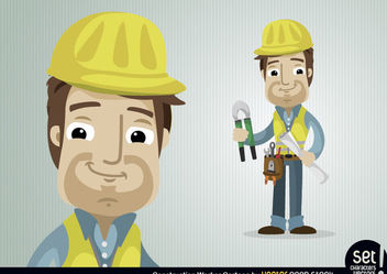 Construction Worker Character - Free vector #173439
