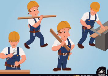 Carpenter Character Set - vector gratuit #173479