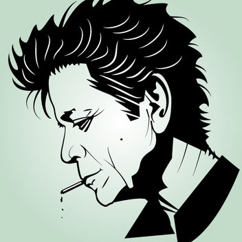 Artistic Black & White Head of Lou Reed - Free vector #173579