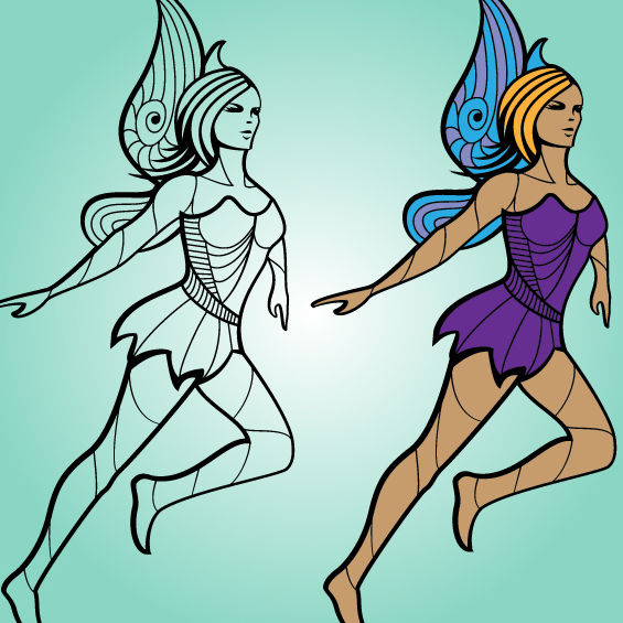 Funky Hot Fairy Girl - Free vector #173599