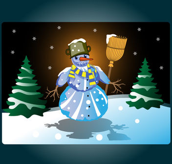 Funky Colored Snowman in Xmas Night - Free vector #173629