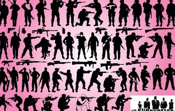 Soldier & Weapon Pack Silhouette - Kostenloses vector #173679