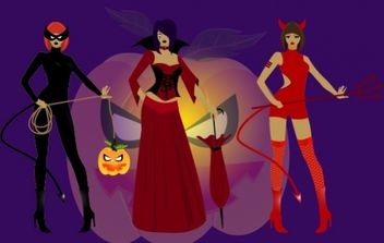 3 Girls in Halloween Witch Costumes - Free vector #173739