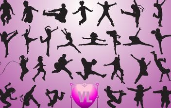 Children Jumping Set Silhouette - vector gratuit #173769