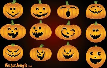 Funny Pumpkin Face Pack - бесплатный vector #173809