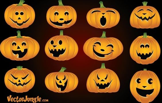 Funny Pumpkin Face Pack - Free vector #173809