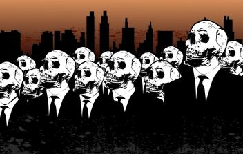Peoples with Skulls and City Behind - vector gratuit #173819