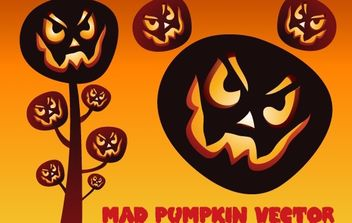 Scary Halloween Mad Pumpkin Set - vector gratuit #173849