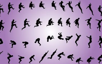 Men Jumping Pack Silhouette - Free vector #173859