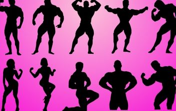 Body Builder Pack Silhouette - vector gratuit #173879
