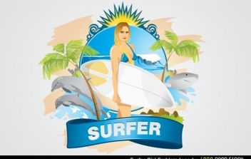 Surfer Girl emblem - Free vector #173889