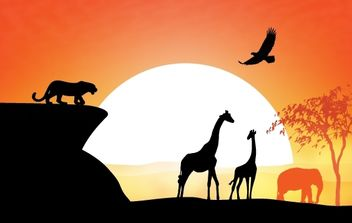 Sunset View of Safari - vector gratuit #173899