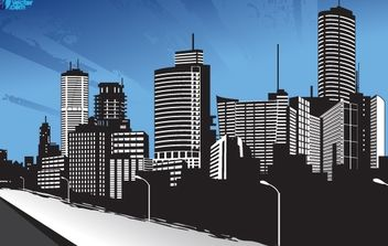 City Beside a River and Street - vector gratuit #173989