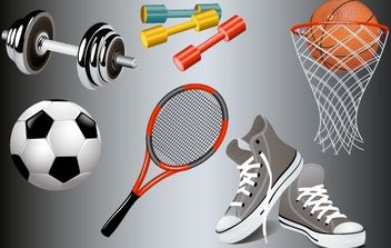 Gym and Sport Equipments - vector gratuit #174129