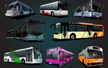 High Detail Big Bus Set - vector gratuit #174269