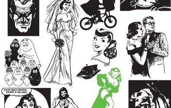 Black & White Vector Art - vector #174549 gratis