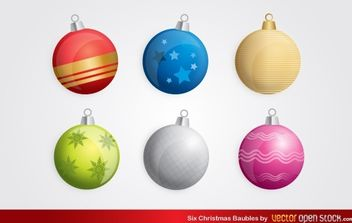 Six Christmas Baubles - Free vector #174699