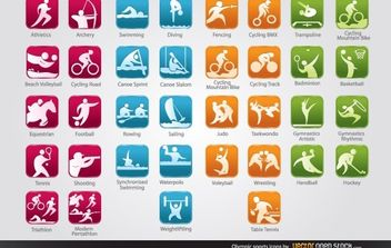 Olympic Sports Icons - vector gratuit #174779