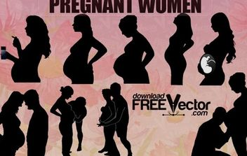 Silhouettes Pregnant Women - Free vector #174949