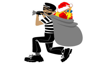 Thief With Christmas Present - Free vector #175109