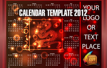 Dragon Calendar Template of 2012 - Free vector #175179