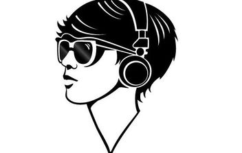 Girl With Headphones Vector - Free vector #175759