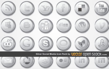 Silver Social Media Icon Pack - Free vector #175929