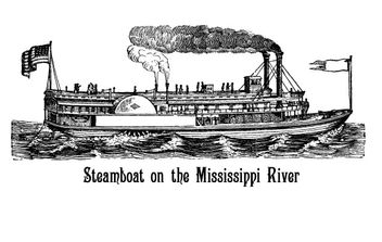 Steamboat On The Mississippi River - vector gratuit #176059